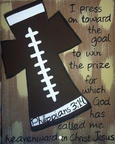 Football cross by FaithfullyFramed on Etsy Football Crafts, Football Stuff, Football Quotes, Bible School Crafts, Sport Craft, Cross Art, Vbs Crafts, Vacation Bible School, Cross Paintings