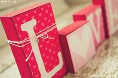 Super cute love blocks for Valentine's day!