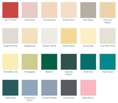 california paints mid century modern colors - Home Decor Color Palettes