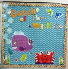 Catch of the week seaside splash bulletin board. I used chevron fabric for background and paisley border. Classroom Organization, Classroom Decor, Elementary Classroom Themes, Chevron Fabric, Board Ideas, Beach Themes, Bulletin Boards, Seaside, Leadership