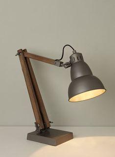 BHS // Illuminate // Hester Task Lamp // Industrial wood and metal task light