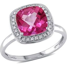Tangelo 3-4/5 Carat T.G.W. Pink Topaz and 1/10 Carat T.W. Diamond 10kt White Gold Halo Cocktail Ring, Women's, Size: 8