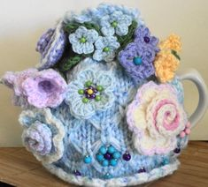 forget me not blue .... hand knitted crocheted by peerietreisures