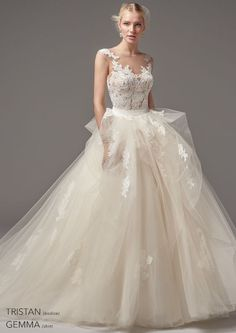 Whimsical wedding dress idea - lace + tulle ball gown- lace bodice, illusion cap sleeves and tulle skirt. Style Tristan bodysuit with Gemma skirt from Sottero & Midgley by Spring 2017 Wedding Dresses, Stunning Wedding Dresses, Perfect Wedding Dress, Wedding Dress Styles, Designer Wedding Dresses, Bridal Dresses, Wedding Gowns, Lace Wedding, Purple Wedding