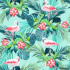 Vecteur : Tropical summer seamless pattern with flamingo birds and jungle flowers
