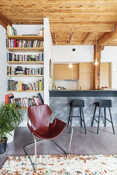 The owner of this Brooklyn apartment decorated with a Paulistano armchair, PaperStone countertops, Muuto pendant lights and poured-concrete floors.