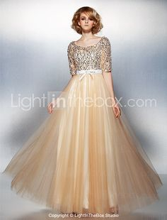 TS Couture® Formal Evening Dress Plus Size / Petite A-line Scoop Floor-length Tulle / Sequined with Beading / Bow(s) 2017 - $109.99