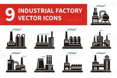 9 industrial factory vector icons.