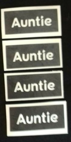 Auntie word stencils for etching on glass craft project gift aunt aunty #DazzleGlitterTattoos Glitter Tattoo Set, Word Stencils, Craft Presents, Aunt Gifts, Present Gift, Glass Etching, Auntie, Hobbies And Crafts, Glass Craft