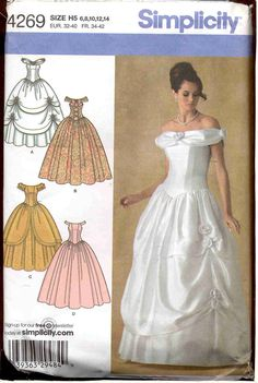 Simplicity 4269 Women's Junior's Misses Evening Gown Dress Costume Sewing Pattern for Belle Cosplay Outfit #timetravelcostumes @TimeTravelStyle