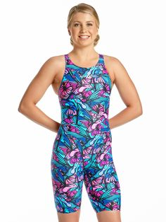 744f6ed66d32 Girls Song Bird Kneesuit Competitive Swimming, Sport Wear, Bikini Swimwear,  Pink Purple,