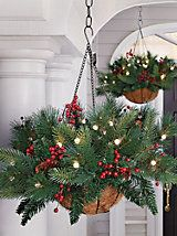 Battery Powered Evergreen Hanging Basket - Lighted Pine Basket | Solutions