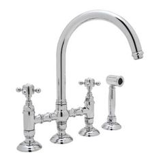 Rohl - Country Kitchen Deck Mounted Bridge Faucet Cross Handles W/Sidespray - Lead Free Standards