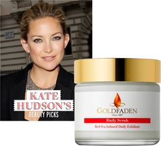 Starlet Kate Hudson incorporates @Goldfaden Skincare Daily Scrub into her morning beauty routine!