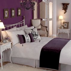 bedroom - gray and plum