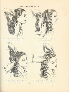 hairstyle book marcel waving flapper prohibition era hairstyles water waving fantasy water waves the nine songs crown of the sea vintage classic lolita jumper dress Marcel Waves, Retro Hairstyles, Flapper Hairstyles, 1920s Long Hairstyles, Wedding Hairstyles, Pin Up Hair, Pin Curls, Water Waves, Look Vintage