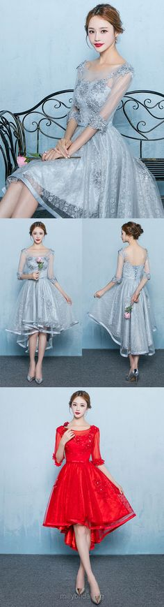 High Low Prom Dresses Grey, 2018 Girls Party Dresses A-line, Scoop Neck Formal Dresses Lace, Tulle Asymmetrical Evening Gowns 1/2 Sleeve Beautiful