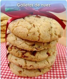 GALLETAS DE NUEZ Brownie Cookies, Cake Cookies, Chocolate Cookies, Cupcakes, Mexican Food Recipes, Sweet Recipes, Cookie Recipes, Biscuits, Beignets