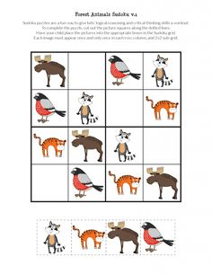 FREE printable Forest Animals Sudoku puzzles for kids Farm Animals Preschool, Preschool Activities At Home, Body Preschool, English Worksheets For Kids, English Lessons For Kids, French Lessons, Printable Puzzles For Kids, Free Printables, Logic Games For Kids