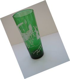 Vintage Anchor Hocking Forest Green Drinking Glass - Surrey With The Fringe on Top Tall Green Tumbler Horse and Buggy Barware - Collectible by shabbyshopgirls on Etsy