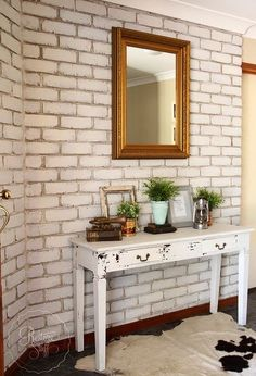 transform your brick wall with milk paint, concrete masonry, painting Painted Brick Walls, Brick Accent Walls, Faux Brick Walls, Paint Brick, Painting Laminate Countertops, Painting Kitchen Cabinets, Brick Veneer Panels, Brick Interior, Interior Design