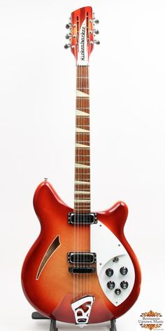 "First introduced in 1964, the Rickenbacker 360/12 instantly won the hearts of many including George Harrison who famously employed his Ric on numerous Beatles' recordings. This example dates from December of 1966 and is completely original. Featuring a Fire-Glo semi-acoustic all maple body, the 360/12 is incredibly easy to play due to 24 fret, 24 3/4"" scale neck w/ rosewood fingerboard. Appointed with triangle fret markers, bound neck"