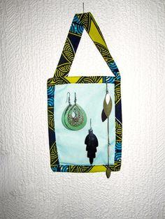 Boite à bijoux wax revisitée jaune et turquoise (envoi 0€) : Presentoir, boîtes par cewax