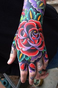 Colourful flower, Hand Tattoo