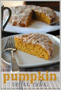 Pumpkin Coffee Cake with Cinnamon Struesel- the perfect Thanksgiving breakfast! @shugarysweets #pumpkin #fallbaking