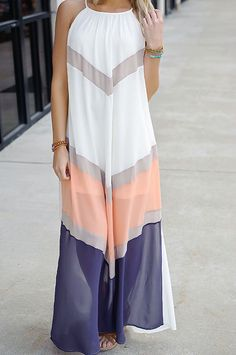 Chevron colorblock maxi dress