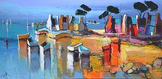 Eric Le Pape, La grève ocre, 50x100 cm