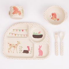 Woodland Tea Party 5 piece Dinner Set by Mae
