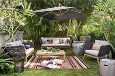 Canapé de jardin 3 places Costa Rica en corde tressée gris anthracite - Maisons du Monde