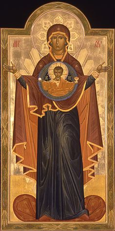 Our Lady of the Sign Religious Images, Religious Icons, Religious Art, Orthodox Catholic, Catholic Art, Byzantine Icons, Byzantine Art, St Clare's, Images Of Mary