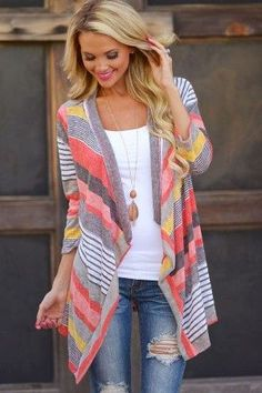 Red Stripe Open Front Three Quarter Sleeve Cardigan
