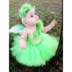 Items similar to The Tinkerbell Headband, Wings, & Tutu Dress- Green, Birthday, Halloween, Costume, Pageant, baby girl, infant, toddler, child, photo prop on Etsy found on Polyvore featuring polyvore