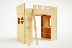 """Our Dumbo Loft Bed features two reversible cabinets below the bed, as well  as an adjustable desk and open shelving/storage unit. The desk and  bookshelves are designed to face either in or out to adapt to virtually any  space. The attached ladder features cut-out handrails for increased safety  and the clearance below the bed is 54"""". Our loft bed exemplifies the  longevity and modularity of our pieces, as the bed can eventually rest on  the floor with short legs attached and the cabinets…"""