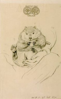 """Rossetti's Wombat Seated in his Master's Lap William Bell Scott 1871 From """"Rossetti's Wombat: A Pre-Raphaelite Obsession in Victorian England"""" """"In the Rossetti often took his friends to visit. Wombat, Christina Rossetti, Edward Burne Jones, Dante Gabriel Rossetti, Pre Raphaelite, Art Database, African Elephant, Exotic Pets, Exotic Animals"""