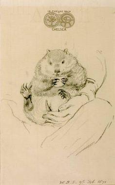 Imagen del artista y su mascota exótica, 1871 - Dante Gabriel Rossetti