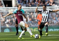 Ayoze Perez challenges West Ham captain Mark Noble for the ball as both sides looked to take the early ascendancy
