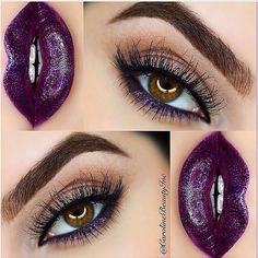 neutral eye + pop of purple on the lowe lashline + matching lips   makeup @carolinebeautyinc