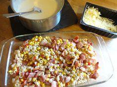 Edels Mat & Vin: Mac 'n' cheese med mais & bacon ♫♪ Bacon, Cheese, Vegetables, Food, Essen, Vegetable Recipes, Meals, Yemek, Pork Belly