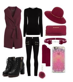 """""""maroon"""" by rabiahk on Polyvore featuring White House Black Market, Paige Denim, Oasis, Lanvin, MICHAEL Michael Kors, Alexander McQueen, Casetify, C by Bloomingdale's and Mitchie's"""