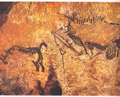 [Unknown,Rhinoceros wounded man and disemboweled bison,Paleolithic cave painting,ca.15,000-13,000 BC,Prehistoric Art,France] This is one of the cave painting,where in the well of the cave at Lascaux.A human and two animals were shown in the art work. A rhinoceros at the left, a bison at the right and a man between them.They were supposed to be depicted by different people, as they were in different style of  drawing. Researches did not sure if they were planned to draw together to tell a…
