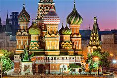 """St Basil's Cathedral, Moscow. The building is shaped as a flame of a bonfire rising into the sky, a design unique in Russian architecture. Dmitry Shvidkovsky, in """"Russian Architecture and the West"""", states that """"it is like no other Russian building. Nothing similar can be found in the entire millennium of Byzantine tradition from the fifth to fifteenth century...a strangeness that astonishes by its unexpectedness, complexity and dazzling interleaving of the manifold  details of its design."""""""