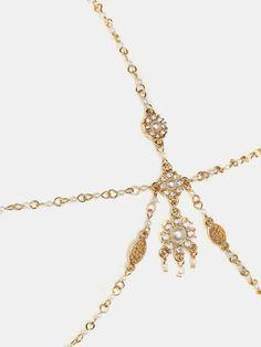 Golden Faux Pearl Chain Hair Crown | Choies
