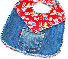 Cute denim bib made from old jeans!