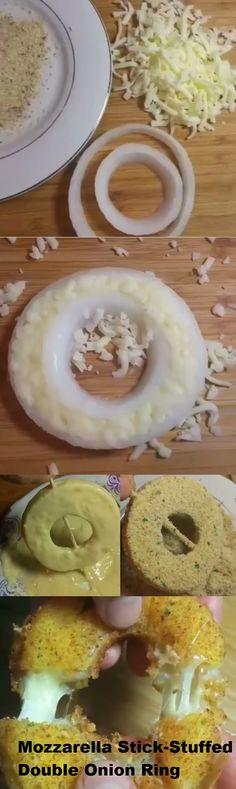 Mozzarella Stick-Stuffed Double Onion Ring (party finger foods mozzarella sticks)