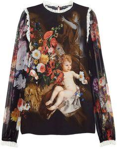 ShopStyle: Dolce & Gabbana Printed silk-chiffon blouse