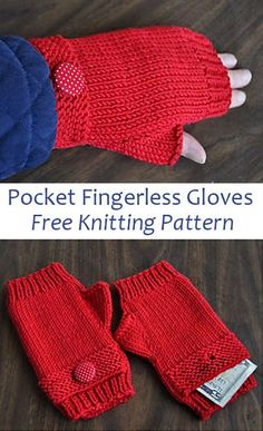Free Knitting Pattern for Pocket Fingerless Gloves - Fingerless mitts with a buttoned pocket to keep extra cash, metro card, etc. Designed by Gail Tanquary for Crystal Palace Yarns Knitted Mittens Pattern, Chunky Knitting Patterns, Crochet Socks, Crochet Gloves, Knit Mittens, Loom Knitting, Knitting Stitches, Free Knitting, Loom Patterns